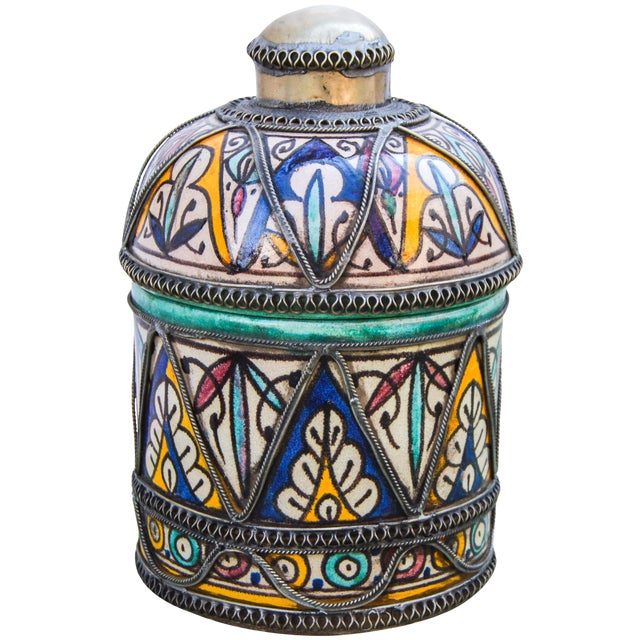 Andalusian Filigree Ceramic Box For Sale