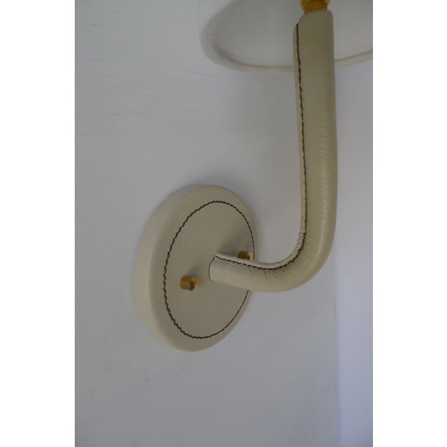 Paul Marra Paul Marra Top-Stitched Leather Wrapped Sconce in Cream For Sale - Image 4 of 6