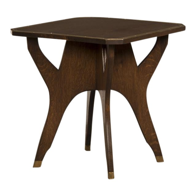 Antique French Octagonal Oak Table with Brass Accents circa 1900 For Sale