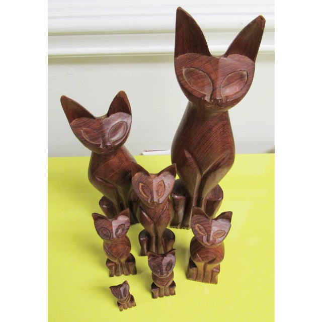 Mid-Century Modern Vintage Mid Century Modern Hand Carved Wood Cats - Set of 7 For Sale - Image 3 of 7