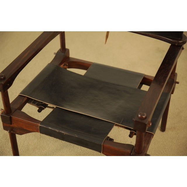 "Wood Don Shoemaker Cocobolo Rosewood & Black Leather ""Perno"" Safari Armchair For Sale - Image 7 of 12"