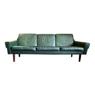 Vintage Danish Modern Leather Sofa Attributed to Svend Skipper 1960's For Sale