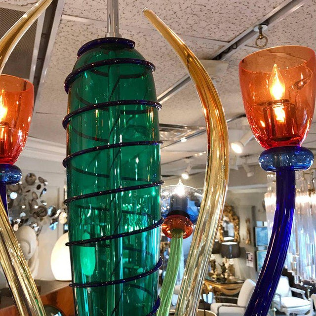Colorful Italian Artimede Ve-Art Glass Chandelier in the Manner of Gio Ponti For Sale - Image 10 of 13