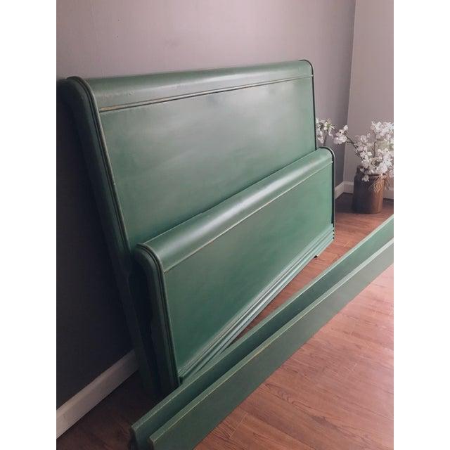 Wood Dixie Furniture Art Deco Waterfall Full Headboard & Footboard For Sale - Image 7 of 12