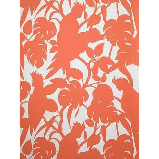 Florence Broadhurst Orange Cockatoo Wallpaper For Sale