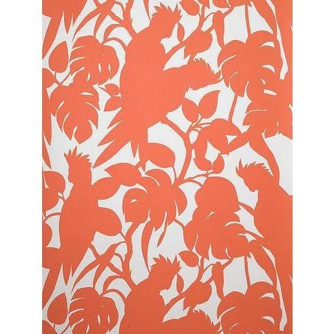 Florence Broadhurst Orange Cockatoo Wallpaper For Sale