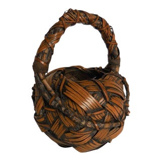 19th Century Large Kago Ikebana Basket For Sale