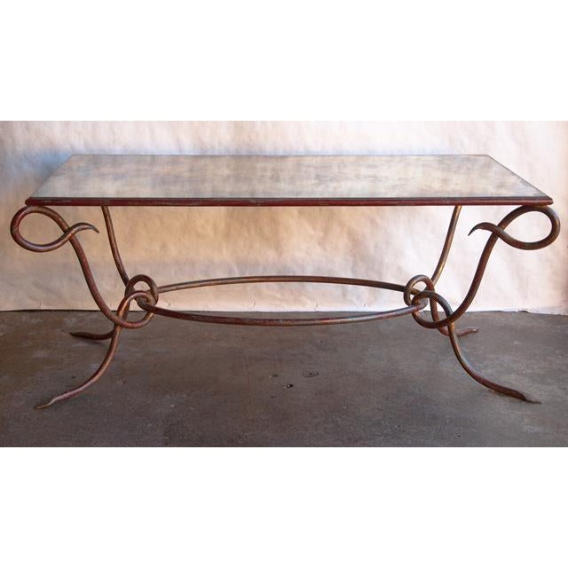 Circa 1940 René Drouet Patinated Silvered Glass and Forged Steel Coffee Table. France - Image 4 of 6