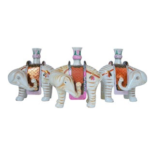 1970s Mottahedeh Winterthur Elephant Candle Holder Figurines - Set of 3 For Sale