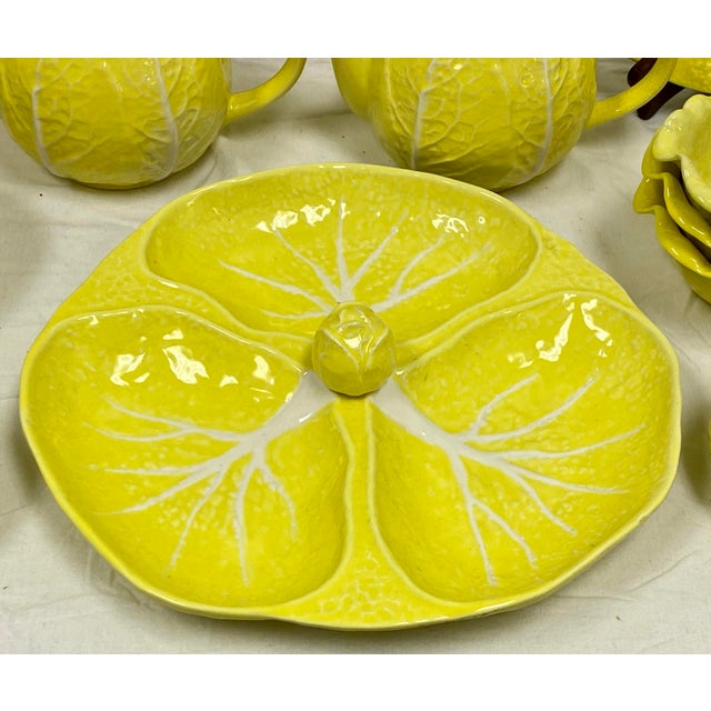 Mid 20th Century Mario Buatta Style Yellow Lettuce Luncheon Set - Set of 16 For Sale - Image 5 of 12