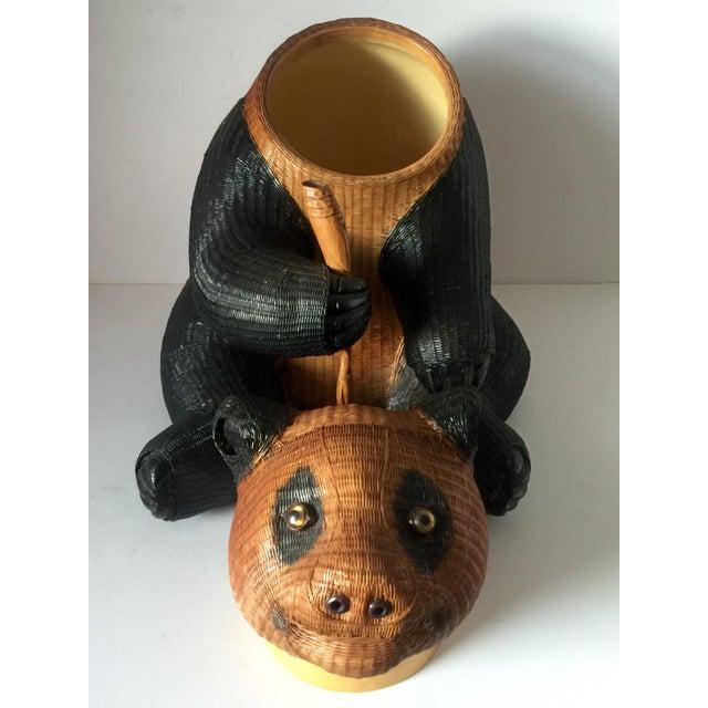 Brown Panda Wicker Cookie Jar For Sale - Image 8 of 9