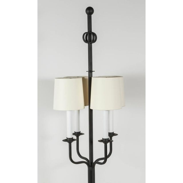 Tommi Parzinger iron floor lamp. Restored including new electrical and new custom shades.