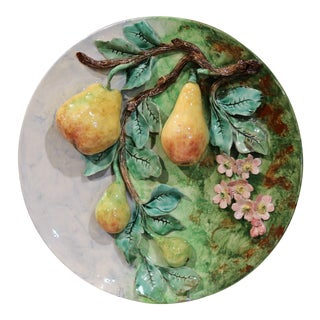 Large 19th Century French Barbotine Wall Platter with Pears from Longchamp