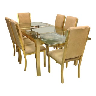 Milo Baughman Style Brass Dining Table & Chairs Set - Set of 7