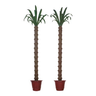 Dramatic Tole Wall-Mounted Palm Trees - A Pair For Sale