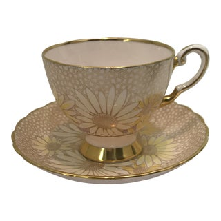 1930s Pink Yellow Daisy Tuscan Bone Teacup and Saucer - a Pair For Sale