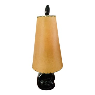 1950s Mid-Century Modern Atomic Sculptural Googie Black Ceramic Lamp With Shade For Sale