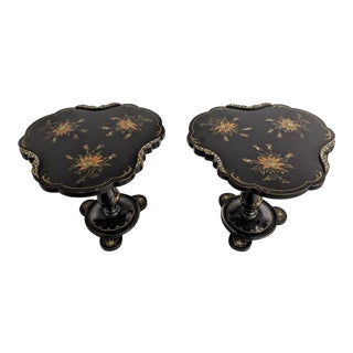 19th Century Victorian Hand-Painted, Lacquered Black Accent Tables - a Pair For Sale