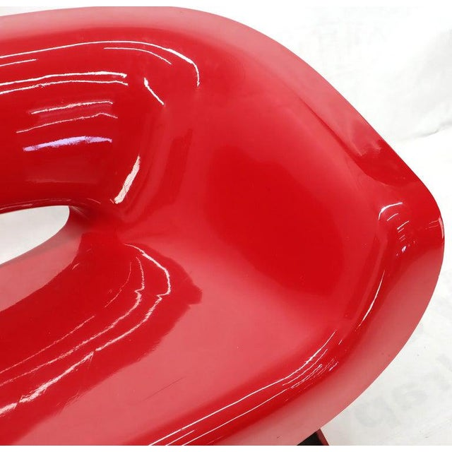 Plastic Red Molded Fiberglass Bench Love Seat For Sale - Image 7 of 11