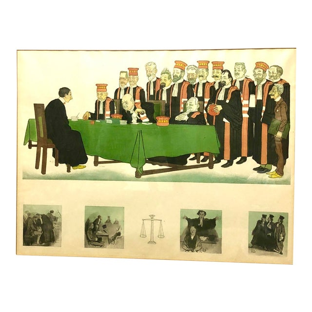 """Early 20th Century Framed Wall Art, """"Passing the Bar"""" by Adrien Barrere For Sale"""