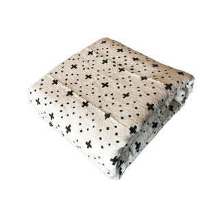 "Lg Black & White Cotton Mud Cloth Textile/Blanket Mali 86"" by 60"""