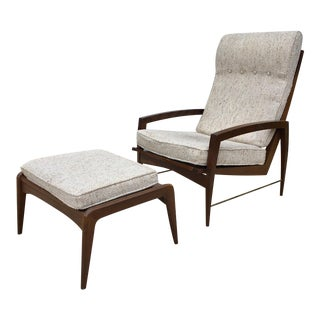 Vintage 1950's Dan Johnson Lounge Chair and Ottoman For Sale