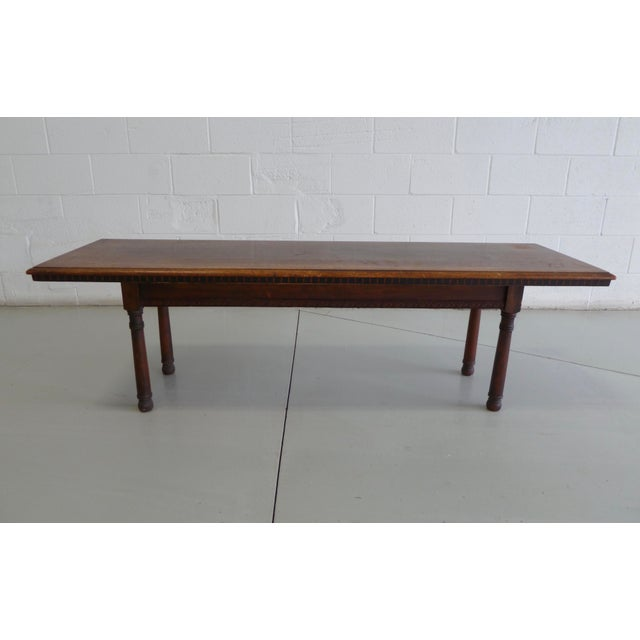 Antique Wood Table With Carved Floral Motif For Sale - Image 4 of 13