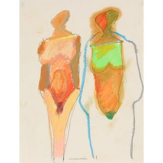 Colorful Abstracted Figures Circa 2000 Pastel and Ink For Sale