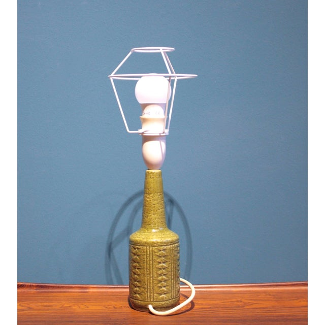 Mid 20th Century Small Green Danish Ceramic Table Lamp From Palshus, 1960s For Sale - Image 5 of 9