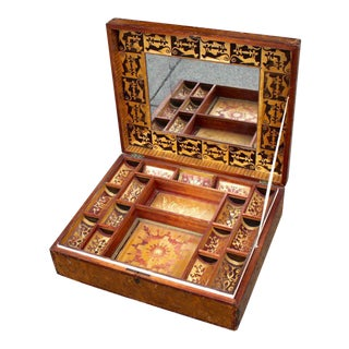 Intricate Straw Work Inlay Jewelry Box with Interior Shelves and Design