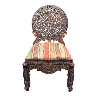 Superb Antique Carved Moroccan Chair For Sale