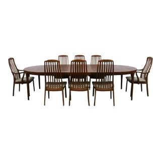 Danish Modern Ib Kofod-Larsen for Faarup Teak Extension Dining Table Set - 9 Pieces For Sale