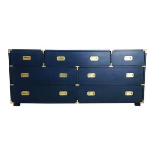 Lacquered in Royal Blue Campaign Style Seven-Drawer Dresser For Sale