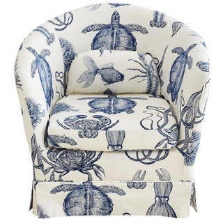 Blue and White Sea Life Nautical Club Chair For Sale