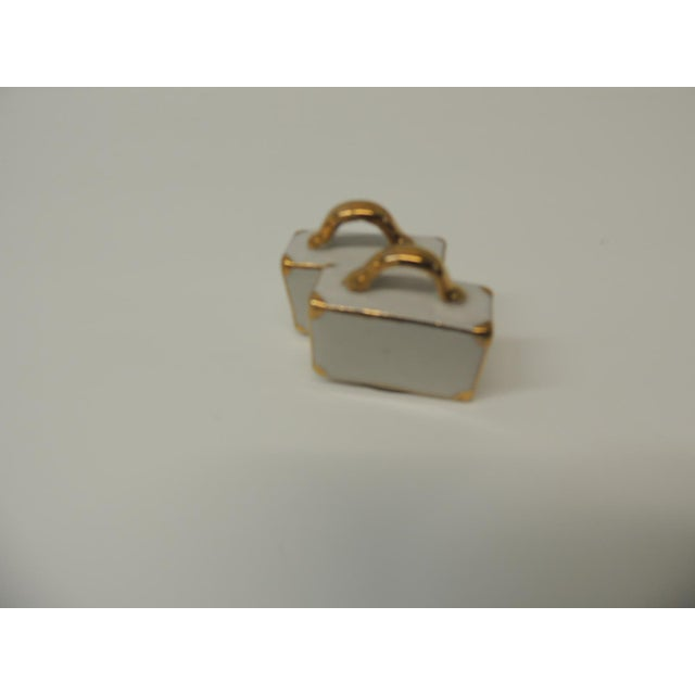 1980s Pair of White and Gold Bisque Porcelain Trendy Handbags Salt & Pepper Shakers For Sale - Image 5 of 6