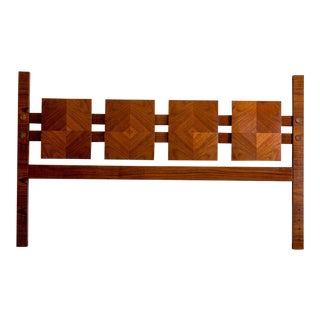 Mid Century Modern Lane Mosaic Brutalist King Headboard For Sale
