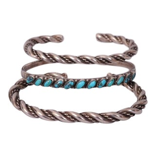 Three Native American Silver or Silver & Turquoise Bracelets For Sale