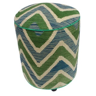 Arshs Delicia Ivory/Green Kilim Upholstered Handmade Ottoman For Sale