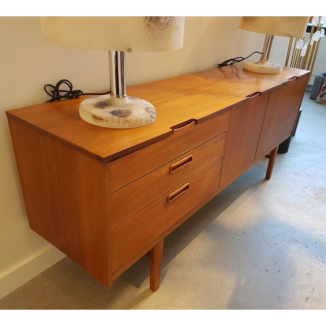High End Nathan Stamped English Clear Teak Sideboard Buffet Mid