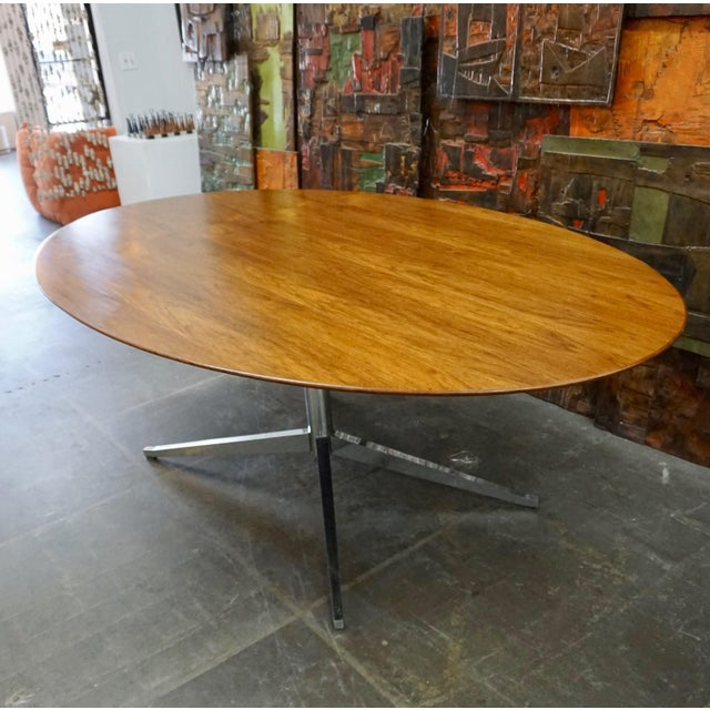 Florence Knoll Mid-century modern Walnut veneered on chromed steel base. Can be used as a desk, conference table or dining...