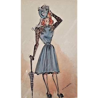 Matted Mid-Century French Couture Sport Fashion Design For Sale
