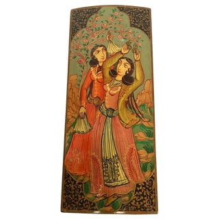 Hand Painted With Harem Girls Playing and Dancing Lacquer Pen Box For Sale