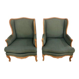 Louis XV Style High Back Lounge or Wing Chairs - a Pair