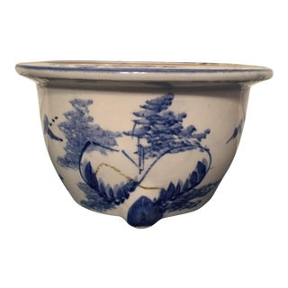 1990s Chinoiserie Blue & White Pot For Sale
