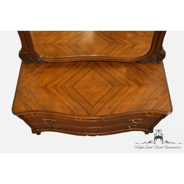 Late 20th Century 1920s Antique Louis XVI Bookmatched Mahogany Dresser with Mirror For Sale - Image 5 of 12