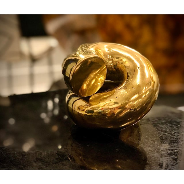 Metal Contemporary Brass Coil Accent Piece For Sale - Image 7 of 11