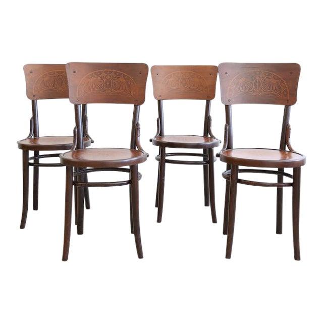 Antique Art Nouveau Motif Bentwood Bistro Chairs - Set of 4 - Antique Art Nouveau Motif Bentwood Bistro Chairs - Set Of 4 Chairish
