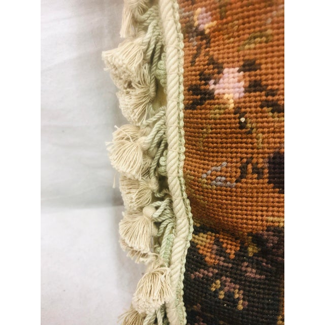 1980s Vinatge Needlepoint With Tassel Trim Pillow of Bulldog For Sale - Image 5 of 13