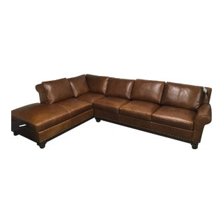 Traditional Large Scale Leather Sectional For Sale