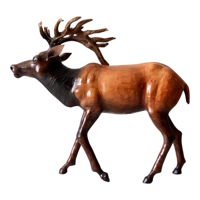 Vintage Leather Reindeer Sculpture For Sale